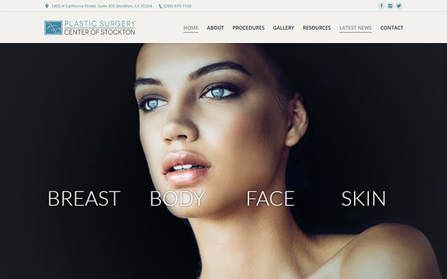 Plastic Surgery Center Stockton Web Design